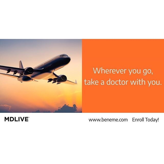 Need a doctor on your travels? No problem! MDLIVE Prime can travel with you. Enroll today or refer a friend! www.beneme.com #mdliveprime #telemedicine #anywhereanytime #yourhealthmatters #calladoctor #health #healthbenefits #telehealth #telehealthcare