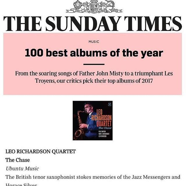 🙌🏼🙌🏼🙌🏼🙌🏼 well deserved!! Also, recorded by us!! #recordedatthebunker  #Repost @leorichardsonsax ・・・ The Sunday Times has selected our album as one of the Top 100 Albums of 2017, as well as one of the Top 10 Jazz Albums of 2017! Thank you so much!!! And thank you to everyone involved! @ubuntumusic @rick_simpsons_nice_account @roddyrichardson @marklbass @timthorntonbass @qctrumpet78 @vandorenusa @vandorenfrance  #jazz #jazzsaxophone #debut #debutalbum #vandoren #vandorenreeds #leorichardsonquartet
