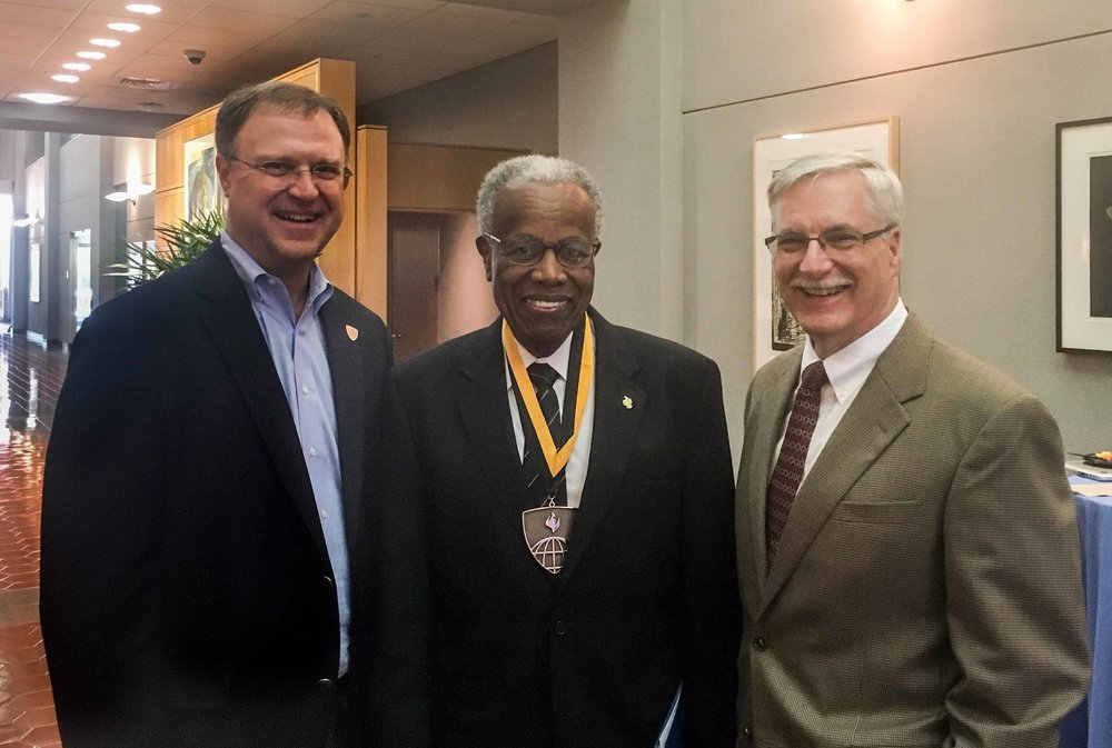 AHW Director, David Peters pictured with Sir George Alleyne and Dean of the Bloomberg School of Public Health, Michael Klag, June 2017.  Image credit: Brandon Howard
