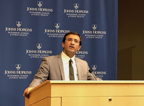 Raj Panjabi presents on Last Mile Health to audiences for Center for Global Health's Global Heath Day event at Johns Hopkins School of Public Health on March 29, 2018. Photo credit: JHSPH