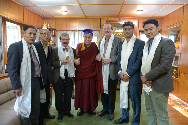 From grantee team -  Transformative Technologies for Zero TB in Tibetan Kids  - Dr. Richard Chaisson (Principal Investigator), fifth from left, with Dr Kunchok Dorjee (JHU) and His Holiness the 14th Dalai Lama (center), who has blessed the project, with collaborators (from left) Dawa Phunkyi, Dr. Tsetan Sadutshang, Dr. Zorba Paster, and Dr. Sonam Topgyal.