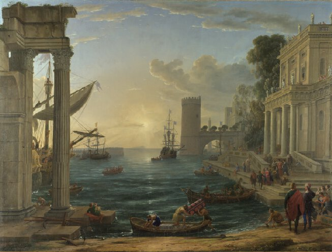 Seaport with the Embarkation of the Queen of Sheba    (1648)   by Claude Lorrain. The National Gallery (London, UK).
