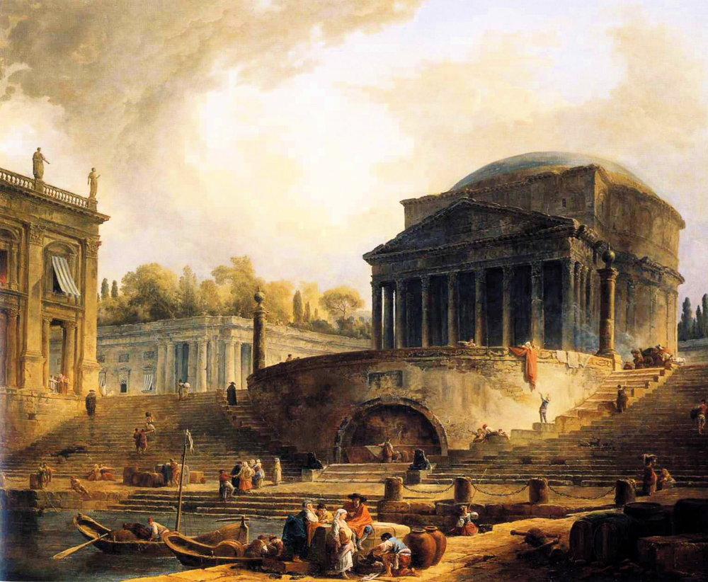 View of Ripetta    (1766)   by Hubert Robert .  École nationale supérieure des Beaux-Arts  (Paris, France).