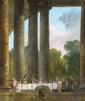 Banquet in Temple Ruins    (1795)   by Hubert Robert. Yale University Art Gallery (New Haven, CT).