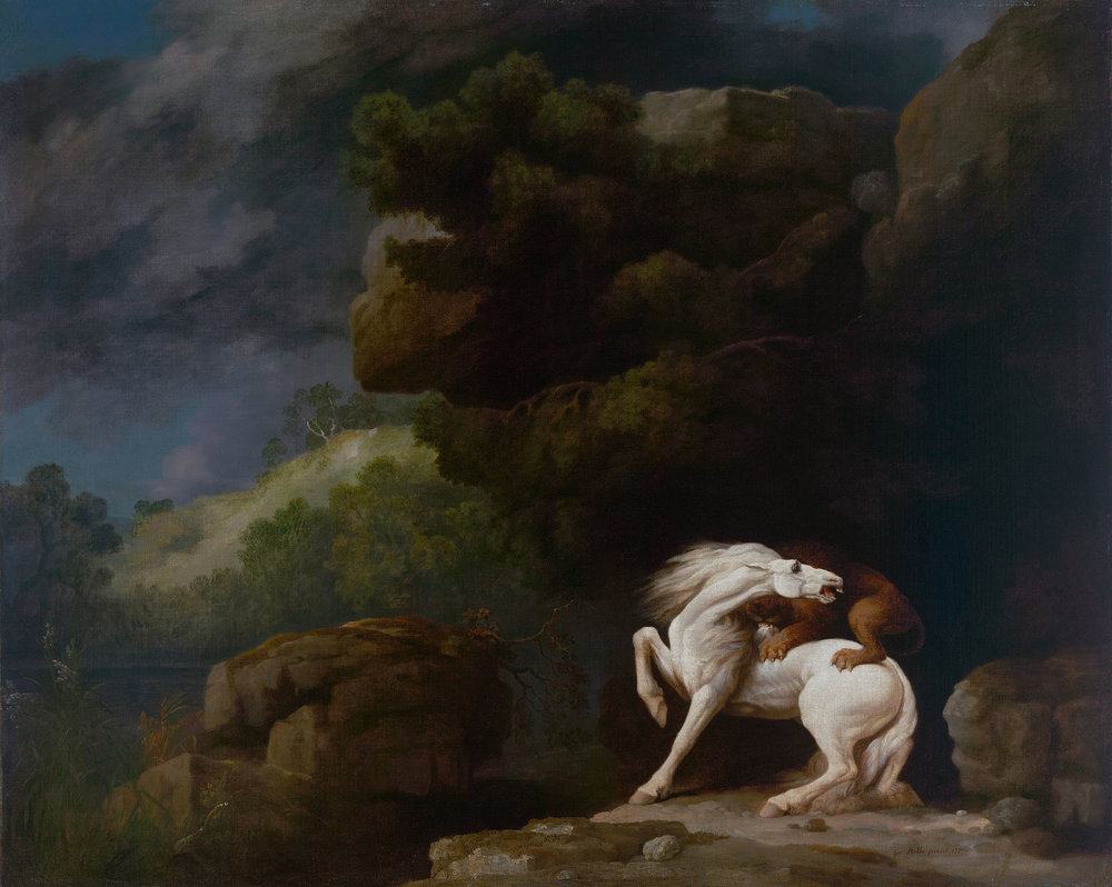 A Lion Attacking a Horse    (1770)       by George Stubbs. Yale Center for British Art (New Haven, CT).
