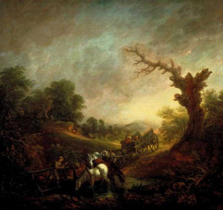 Carthorses Drinking at a Stream    (c. 1760) by Thomas Gainsborough. The Tate Britain (London, UK).