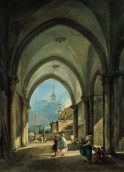 Venetian     Capriccio  by Francesco Guardi.   The Norton Simon Museum (Pasadena, CA).