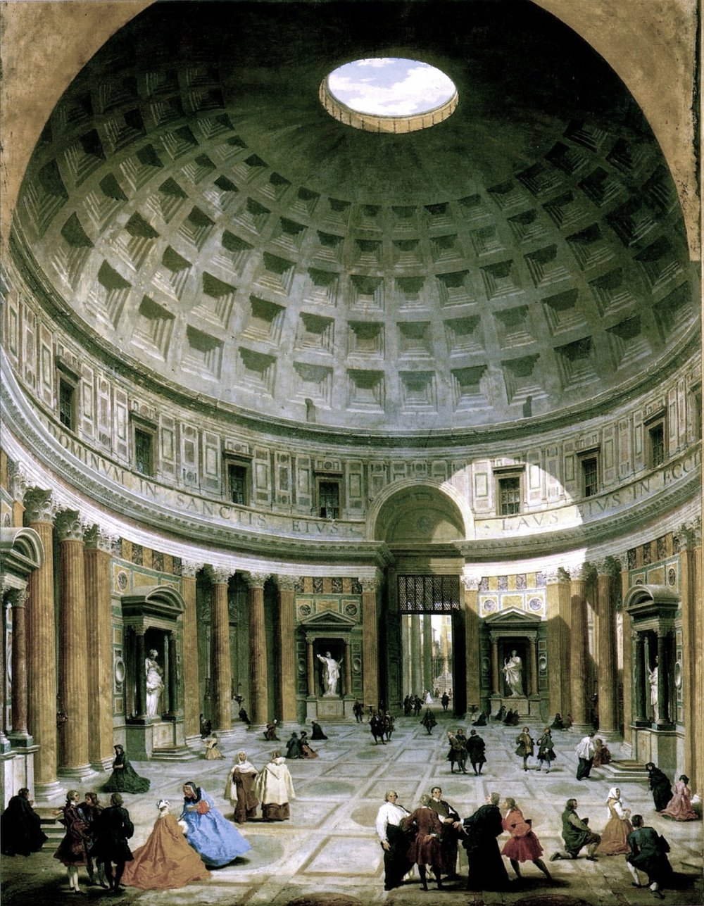 Interior of the Pantheon, Rome    by Giovanni Paolo Panini (c. 1734). The National Gallery of Art (Washington, D.C.).
