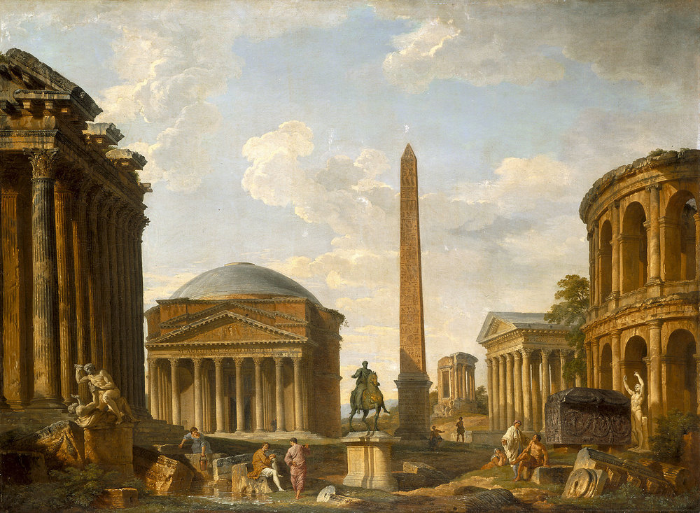 Roman Capriccio: The Pantheon and Other Monuments    (1735) by Giovanni Paolo Panini. Indianapolis Museum of Art (Indianapolis, IN).