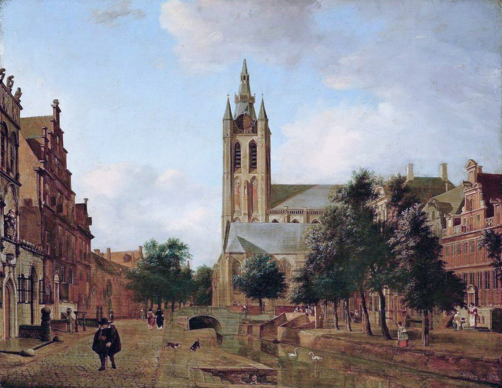 View of the Oude Kerk    (1675) by Jan van der Heyden. The National Gallery (Oslo, Norway).