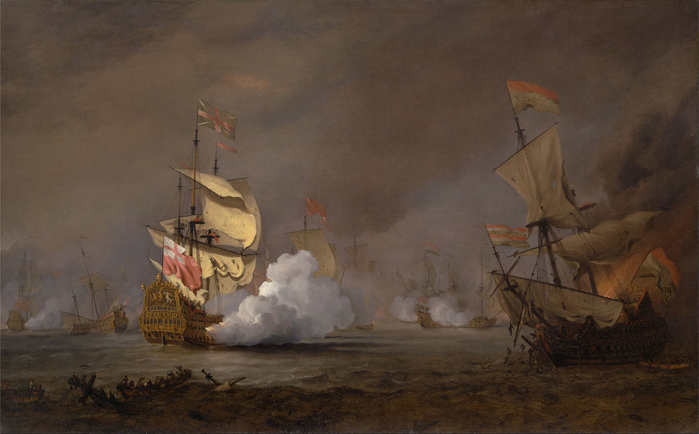 Sea Battle of the Anglo-Dutch Wars    (c. 1700) by Willem van de Velde the Younger. The Yale Center for British Art (New Haven, CT).