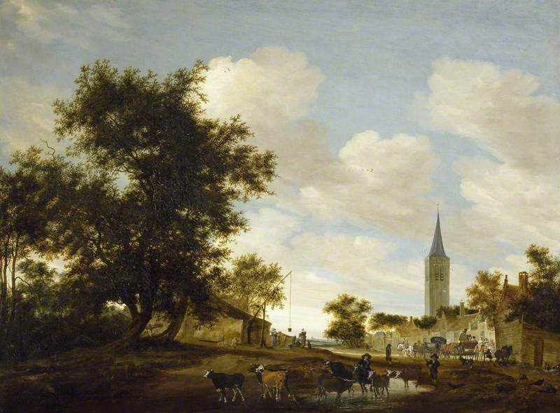 A Draw-Well with Cattle before Beverwijck Church  (mid-1600s) by Salomon van Ruisdael. The Ashmolean (Oxford, UK).
