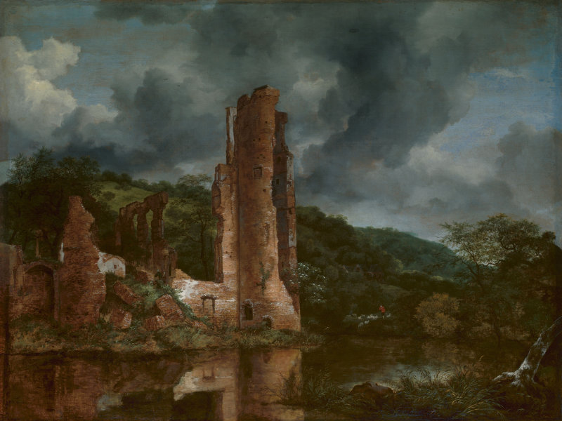 Landscape with the Ruins of the Castle of Egmond  by Jacob van Ruisdael (c. 1650-1655). The Art Institute of Chicago (Chicago, IL).