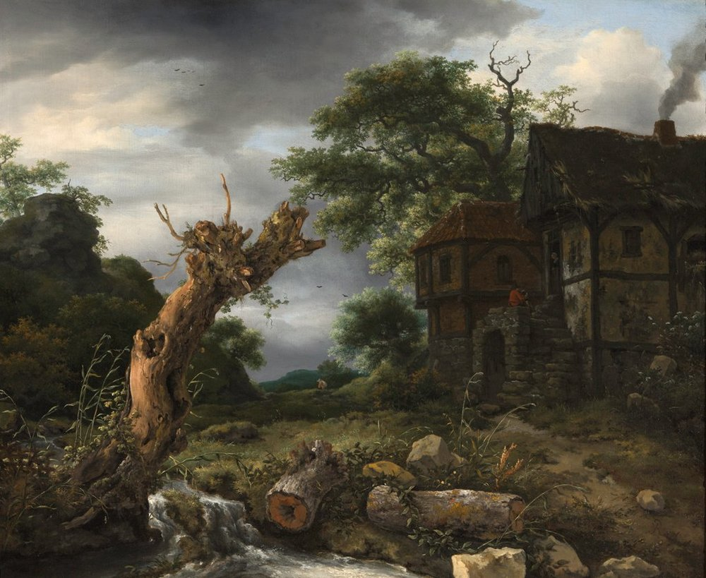 Landscape with a Half-Timbered House and a Blasted Tree  (1653) by Jacob van Ruisdael. Speed Art Museum (Louisville, Kentucky).