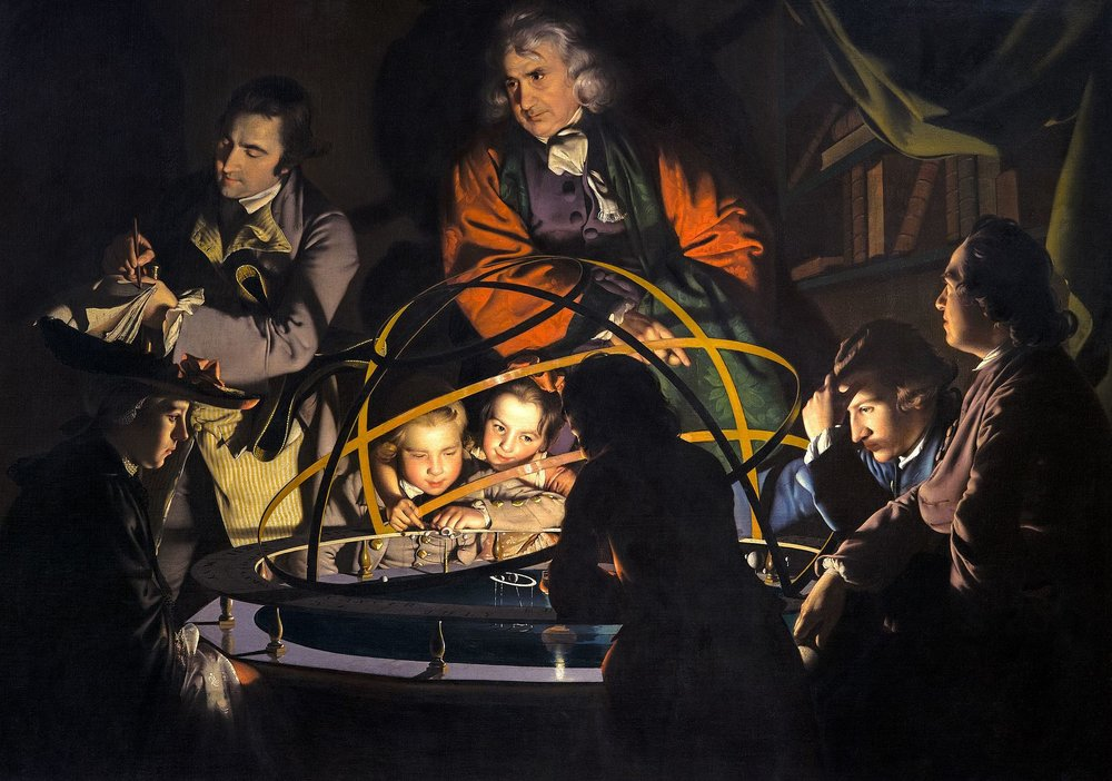 A Philosopher giving a Lecture on the Orrery in which a lamp is put in place of the Sun    (c. 1766) by Joseph Wright of Derby. Derby Museum and Art Gallery (Derby, UK).