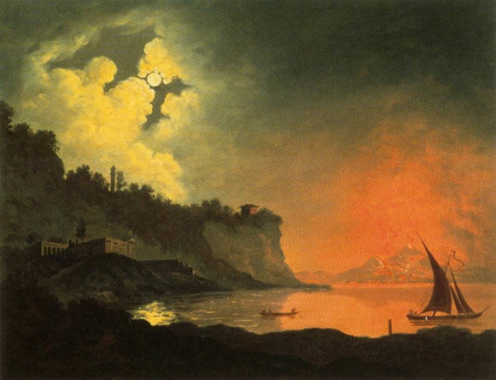Vesuvius from Posillipo by Moonlight      (1774) by Joseph Wright of Derby. Private collection.