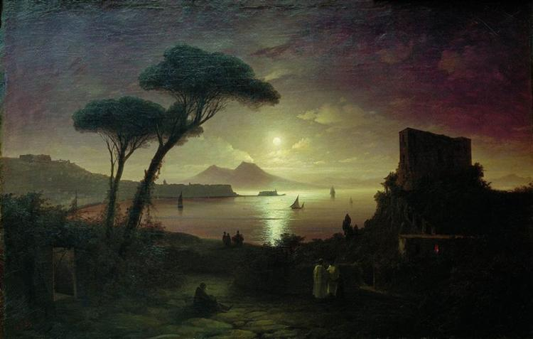 The Bay of Naples on a Moonlit Night    (1842) by Ivan Aivazovsky.