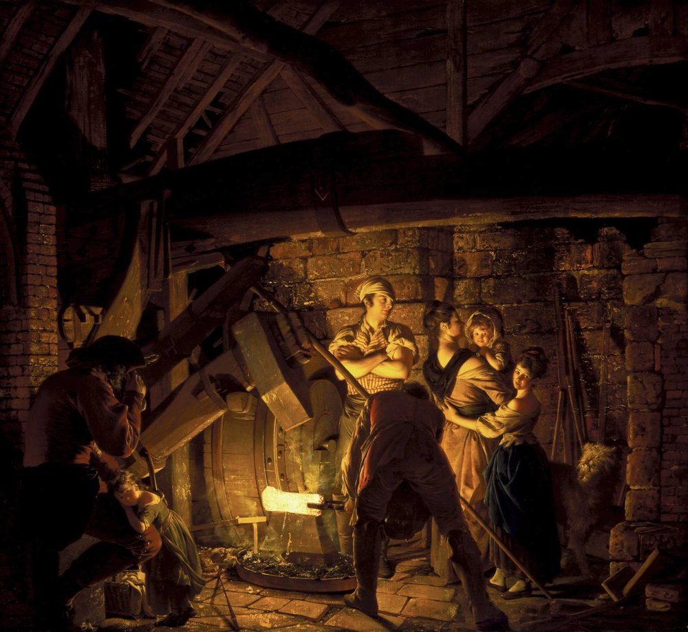 An Iron Forge    (1772) by Joseph Wright of Derby. The Tate Britain (London, UK).