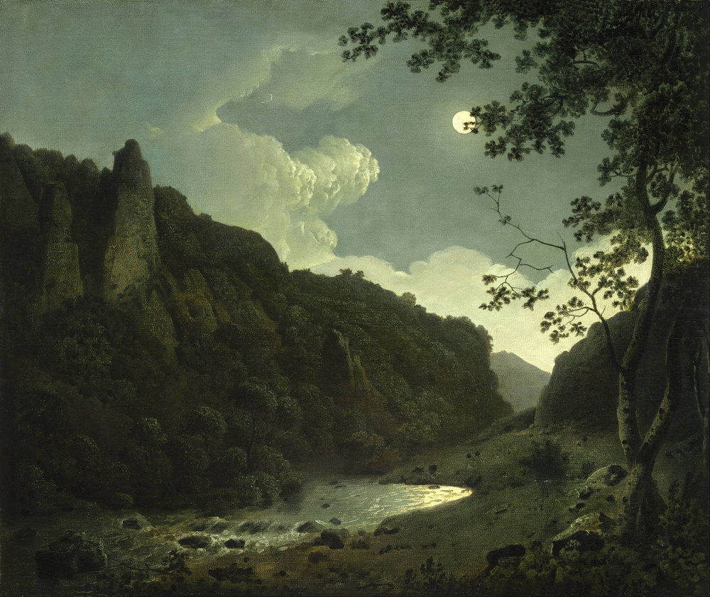 Dovedale by Moonlight    (1784) by Joseph Wright of Derby. Allen Memorial Art Museum (Oberlin, OH).