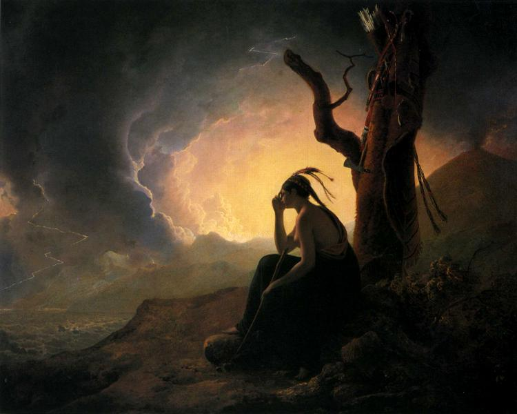 The Widow of an Indian Chief Watching the Arms of Her Deceased Husband    (1785) by Joseph Wright of Derby. Derby Museum and Art Gallery (Derby, UK).
