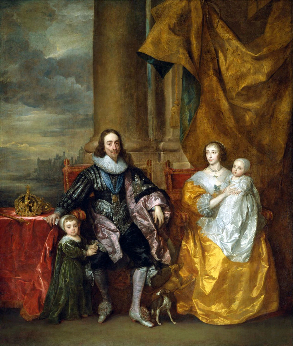 Charles I and His wife Henrietta Maria with Their Eldest Children: Charles, Prince of Wales (Charles II) next to His Father and Mary, the Princess Royal, in the Arms of Her Mother    (1633) by Anthony van Dyck. The Royal Collection (Windsor, UK).