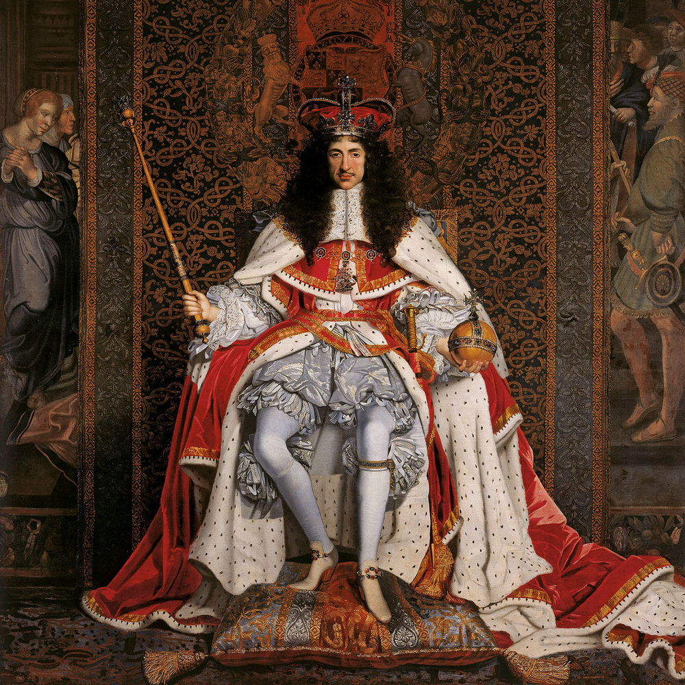 Charles II    (c. 1676) by John Michael Wright. The Royal Collection (Hampton Court Palace, UK).