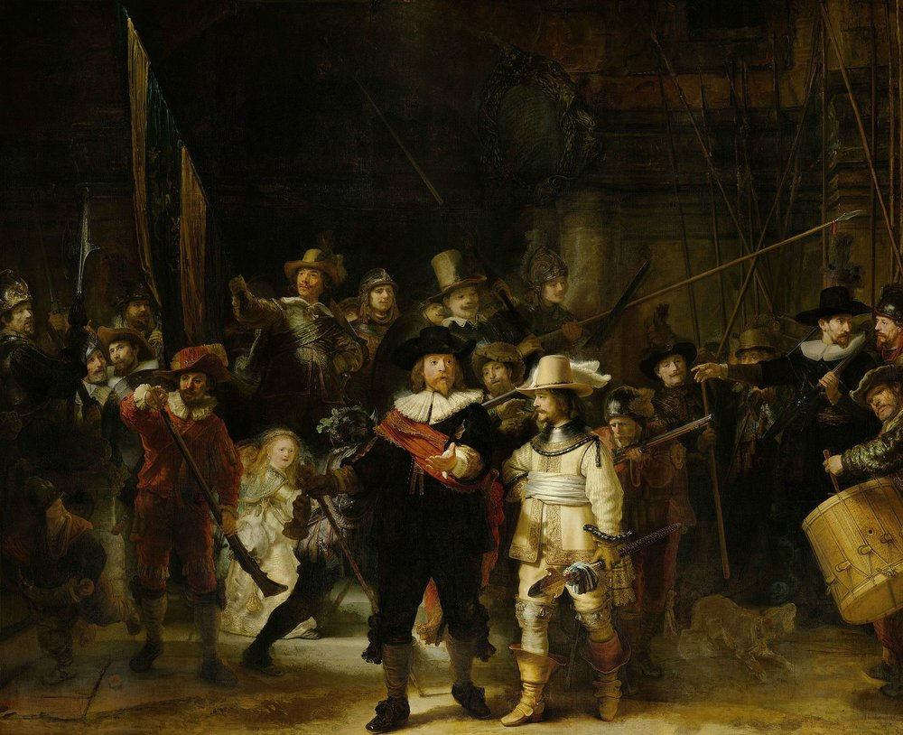 The Night Watch (1642) by Rembrandt van Rijn. Rijksmuseum (Amsterdam, The Netherlands).