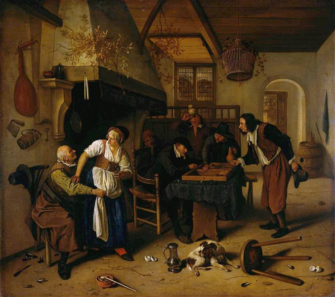 In the Tavern  (1660) by Jan Steen. Rijksmuseum (Amsterdam, the Netherlands).