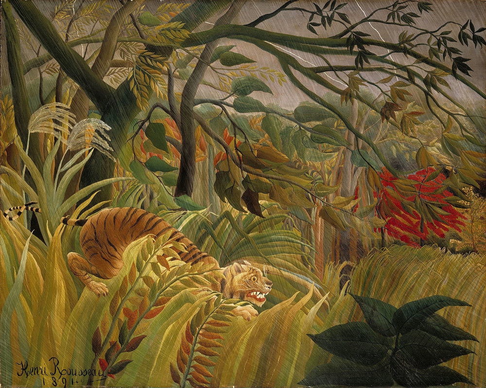 Tiger in a Tropical Storm  or  Surprised!  (1891) by Henri Rousseau. The National Gallery (London, UK).