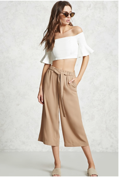 The Contemporary Tie-Waist Culottes from Forever 21 are an inexpensive option that are still very suitable for a summer brunch or tea.