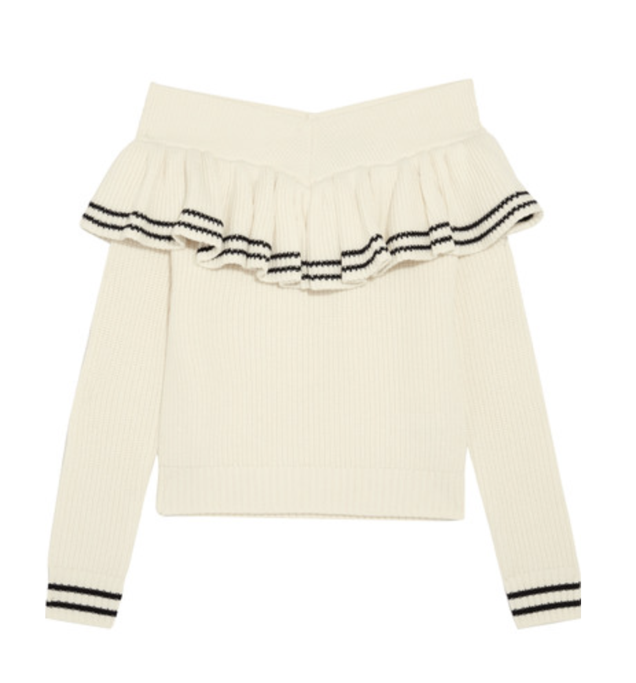 SELF-PORTRAIT - Off-the-shoulder ruffled ribbed wool-blend sweater$375