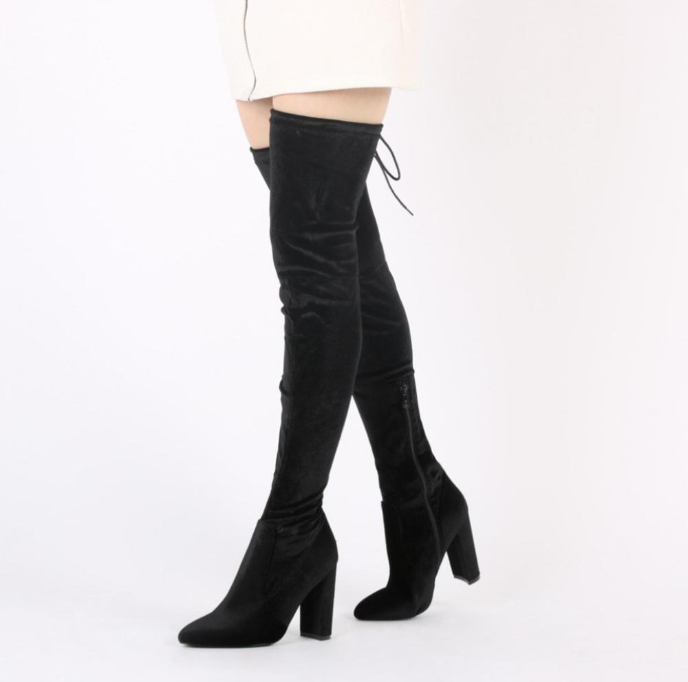Over The Knee Boots - Public Desire, Annie Velvet Over the Knee Boots in Black, $59.99 USD, Annie Boots