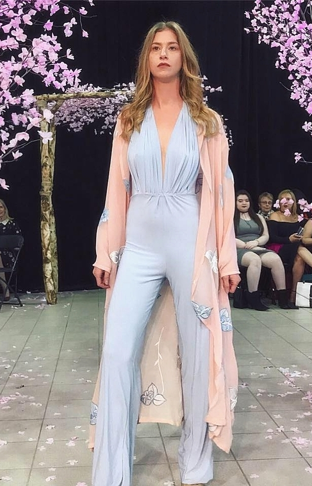 Baby Blue Jumpsuit with Sheer Duster
