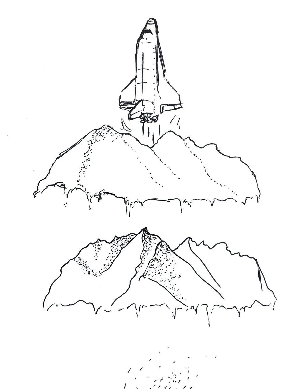 Blastoff rough sketch