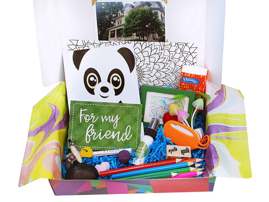 Moving Away BoxAn expertly-packed box full of goodies, treats, and special items like a nightlight, an address book, a beautiful garden stone and much more to help kids cope with moving to a new place.  - $44.95