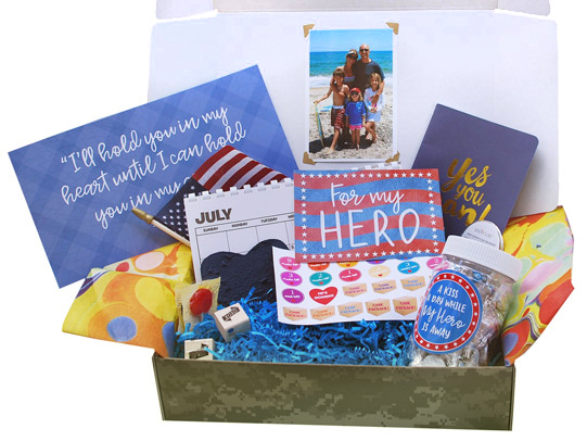 Military Deployment BoxA special care package for a loved one at home who misses their hero. Includes an electronic votive candle, postcards, stamps, a journal, a calendar and much more. - $29.95