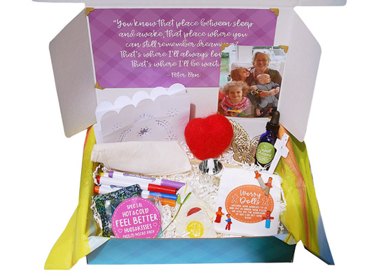 Death of a Family Member BoxLosing a family member can be hard for children to understand. This box is filled with things to help them memorialize their loved one, like a sky lantern, a flag to decorate and much more.  - $49.95