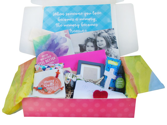 Death of a Friend or Sibling BoxThis box includes expertly-selected items to help cope with the loss of a friend or sibling, like a special bedside light, angel wings, a feelings journal, a picture album and much more.  - $49.95