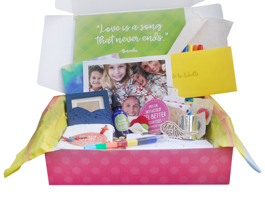 Death of a Parent BoxThe loss of a parent is a great tragedy and can be even more devastating for kids. This box is filled with comforting gifts like a photo album, a feelings journal, a peace lily and much more.  - $49.95