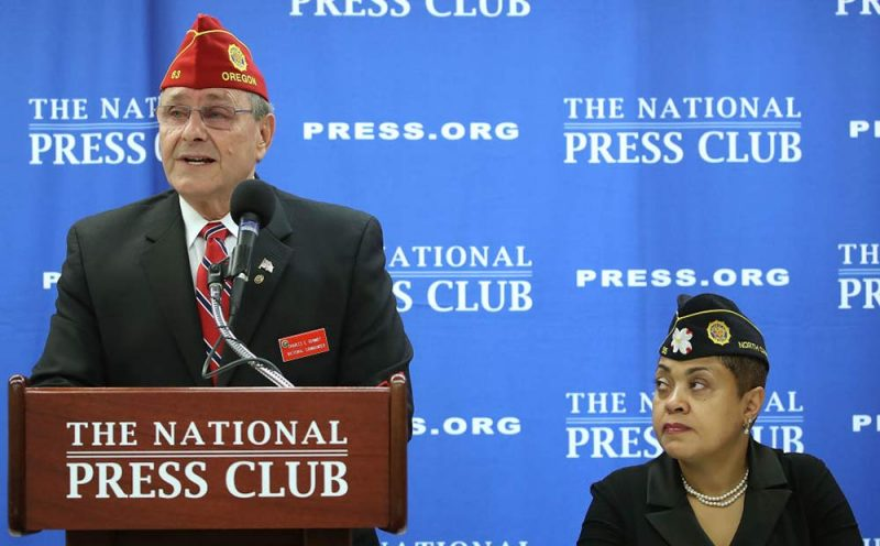 Charles Schmidt, National Commander of the American Legion, speaks to the media while flanked by Verna Jones, Executive Director of the American Legion in the District, during a news conference at the National Press Club on February 22, 2017 in Washington, DC. Schmidt spoke about critical veteran's issues facing the new Trump administration and Congress. The Legion has now called on Trump to reschedule cannabis for medical research to assist veterans. (Mark Wilson, Getty Images)