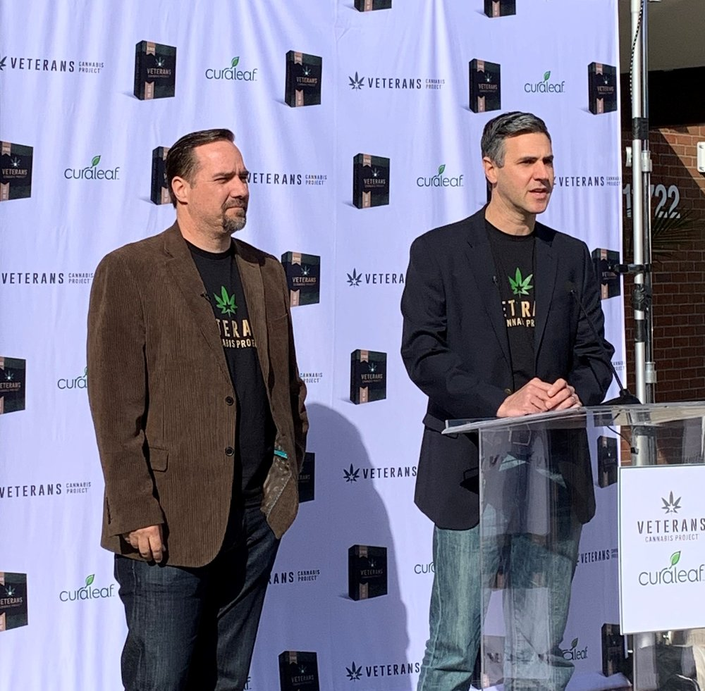 Veterans Cannabis Project Executive Director Doug Distaso and Curaleaf CEO Joseph Lusardi (left to right) announce partnership aimed at improving veterans' cannabis access