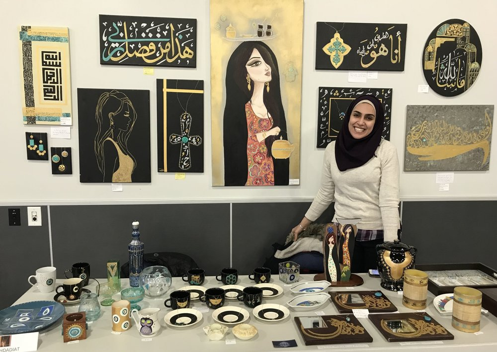 Baghdadiat - Zainab creates beautiful art pieces, with vibrant color and Arabic influence. She is supremely talented and will customize if you wish to commission.