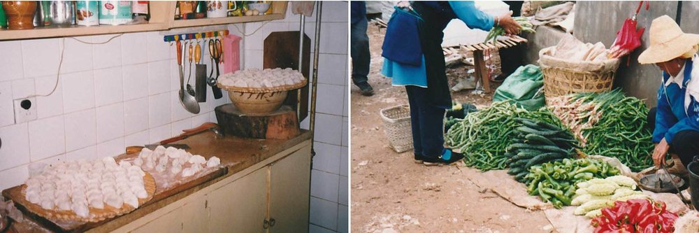 Natascha Hess's Chinese Host Family's Kitchen filled with dumplings and at a street market in rural Kunming, China.