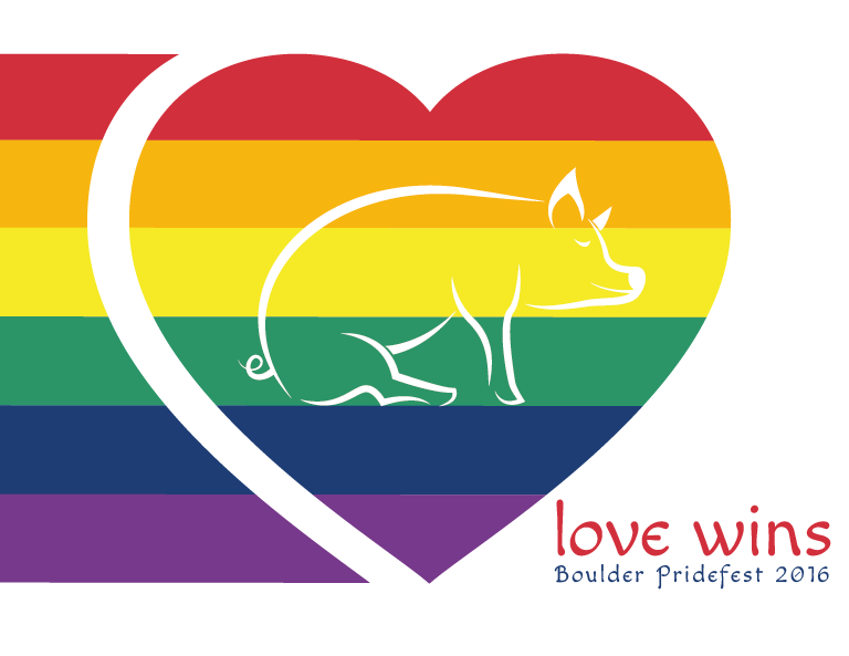Rainbow graphic of a heart with the ginger pig logo centered showing that the ginger pig has pride for LGBTQ