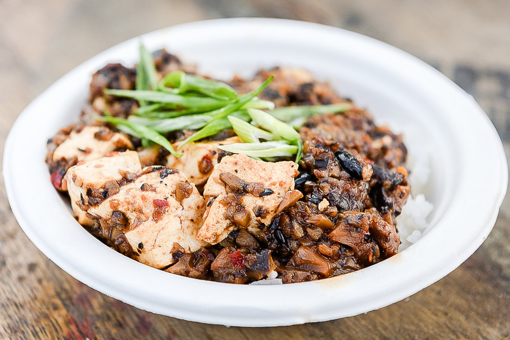 Our vegan Mapo Tofu dish made with beer braised shiitake mushroom ragu with fermented black beans and organic tofu. Photo Credit:  Annabelle Denmark
