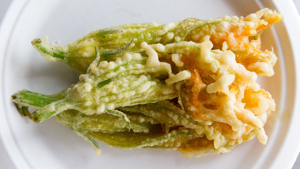 Squash Blossom Tempura Farm-to-truck special at Isabelle Farm