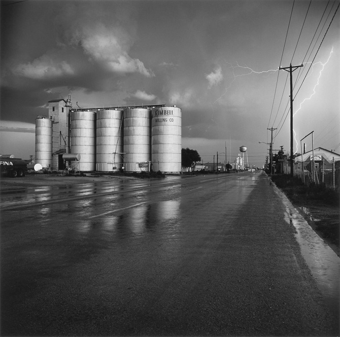Frank Gohlke; Grain Elevator and Lightning Flash, Lamesa, Texas; 1975; Gelatin silver print, 1996; Amon Carter Museum, Fort Worth, Texas; P1999.17