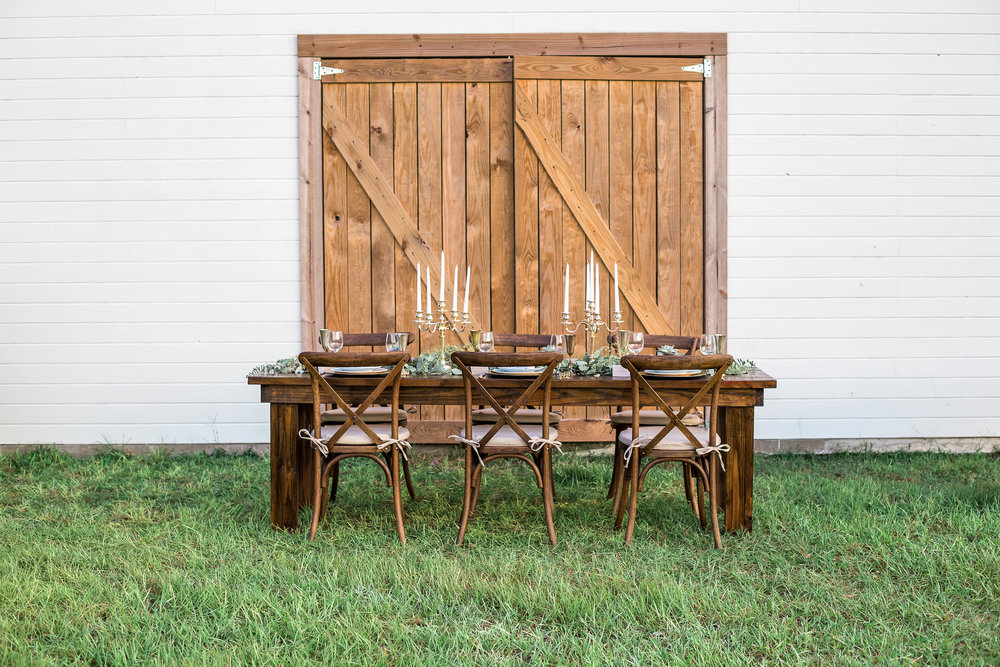 Located In Plant City, FL, We Offer High Quality, Affordable Cross Back  Chairs, Farm Tables, Vintage Furniture And Tableware For Rent.