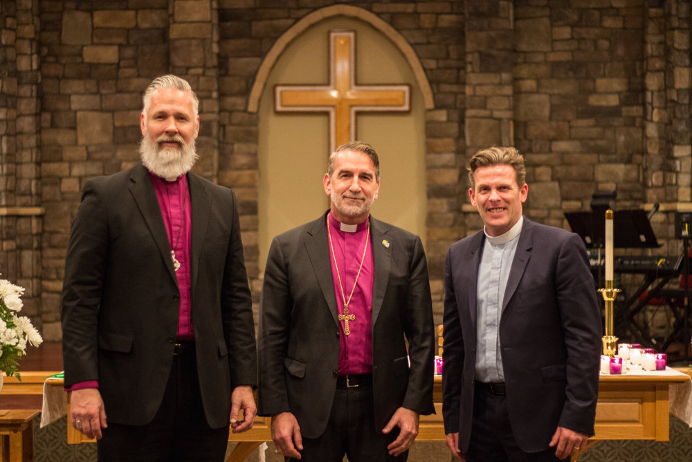 Bishop Todd Atkinson of Via Apostolica with Archbishop Foley Beach and bishop elect of New England, Rev. Andrew Williams at the January 2019 ACNA College of Bishops in Melbourne, Florida.