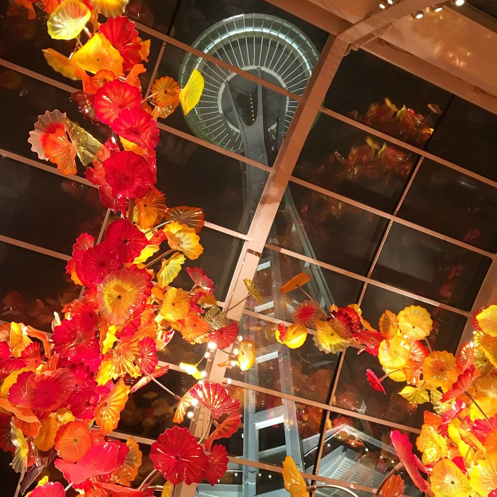 The Space Needle seen from Chihuly Garden and Glass. Photo by Jessica Vaughn.